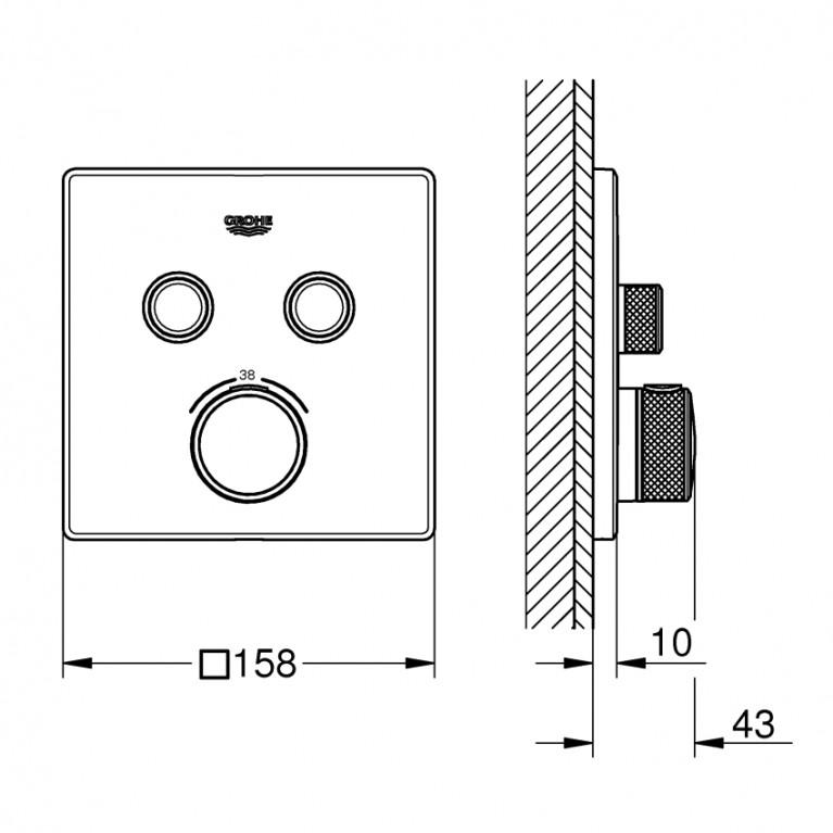 Grohtherm SmartControl Термостат для душа, внешняя часть, на 2 потребителя 29124000