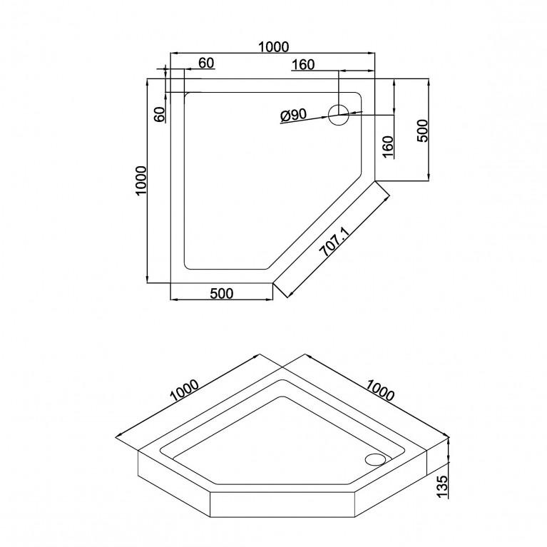 A LÁNY Душевая кабина пятиугольная, реверсивная 1000*1000*2085(на поддоне 135мм) , дверь распашная, стекло прозрачное  6 мм, профиль хром 599-553, фото 3