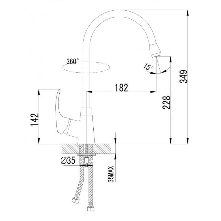 MALSE смеситель для кухни, сатин, 35мм 55010S
