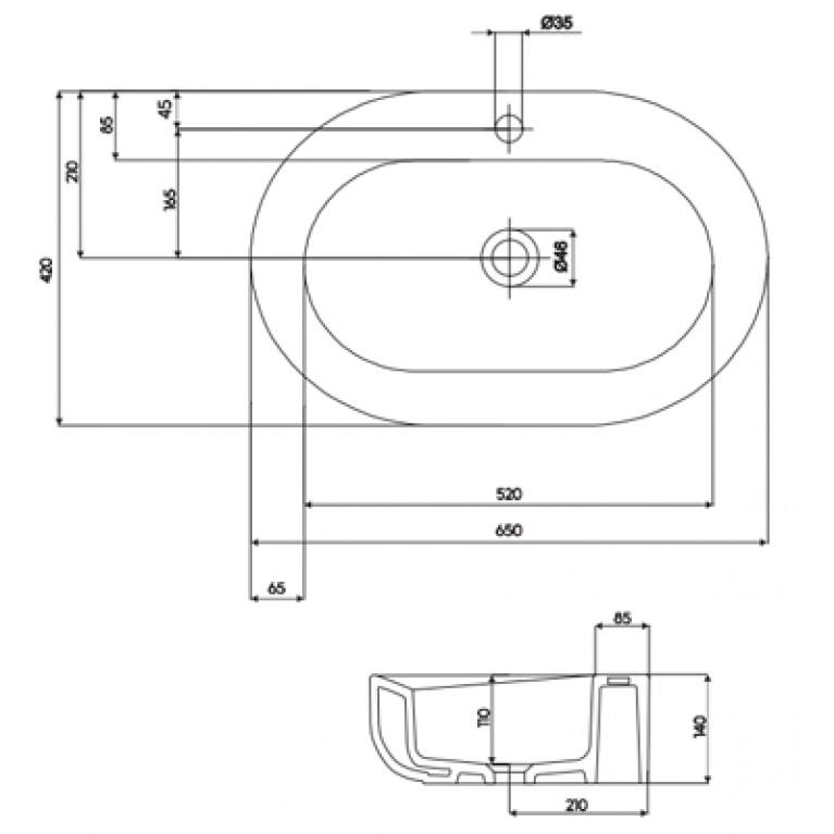 COCKTAIL умывальник овальный 65 см, встраиваемый на столешницу, Reflex L31665900, фото 2