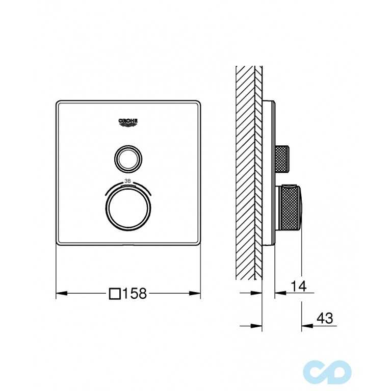 Grohtherm SmartControl Термостат скрытого монтажа с 1 кнопкой управления 29153LS0