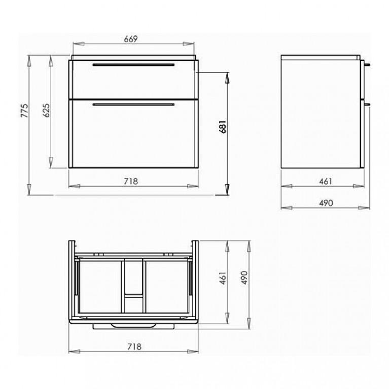 TRAFFIC шкафчик под умывальник 71,8*62,5*46,1см,белый глянец (пол.) 89435000