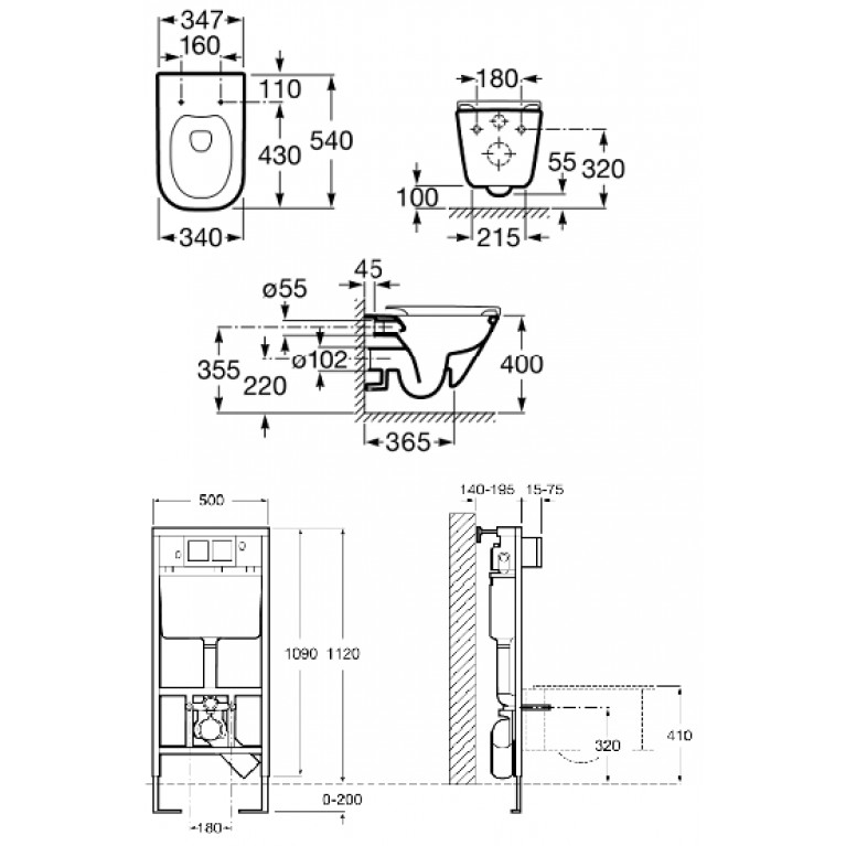 Комплект: GAP Rimless унитаз подвесной A34H47C000+A890090020+A890096001, фото 2