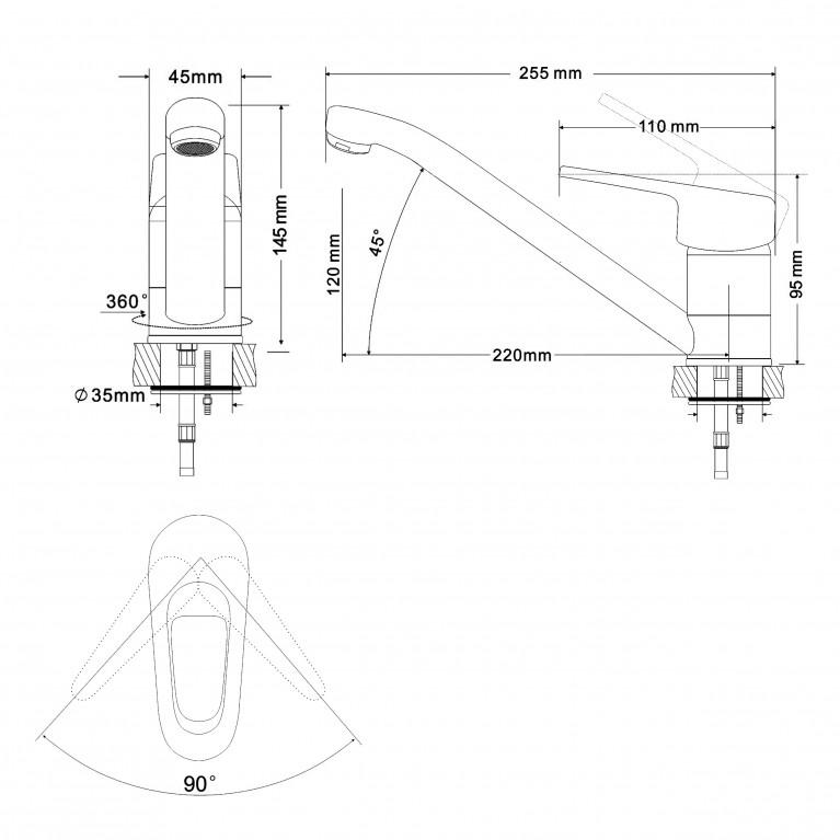 NARCIZ смеситель для кухни однорычажный, излив 210 мм,  хром  40мм RBZ100-6