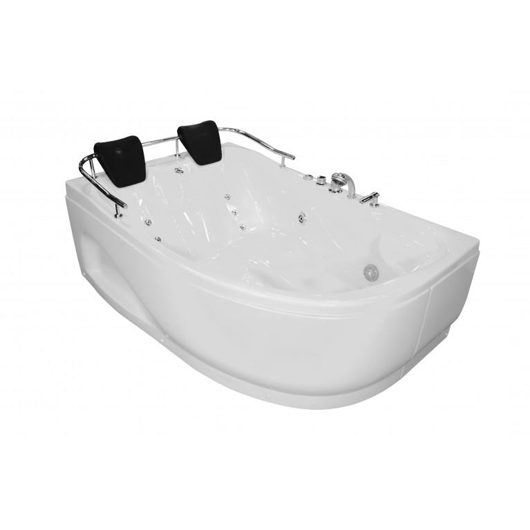 Ванна угловая с гидромассажем и пневмокнопкой 1800*1240*660 мм, левая