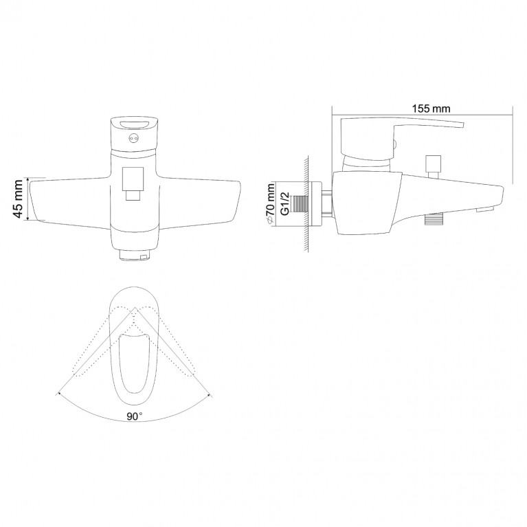 BOSS смеситель для ванны однорычажный,  хром 40мм RBZ077-3, фото 2