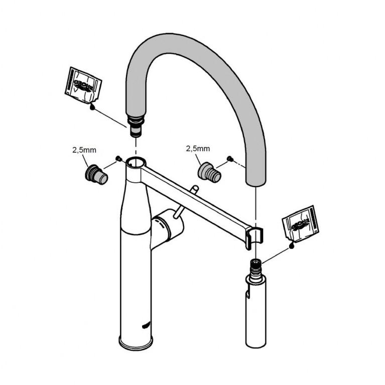 GROHFlexx Шланг гибкий с пружиной для смесителя на мойку, цвет хром/розовый 30321DP0, фото 3