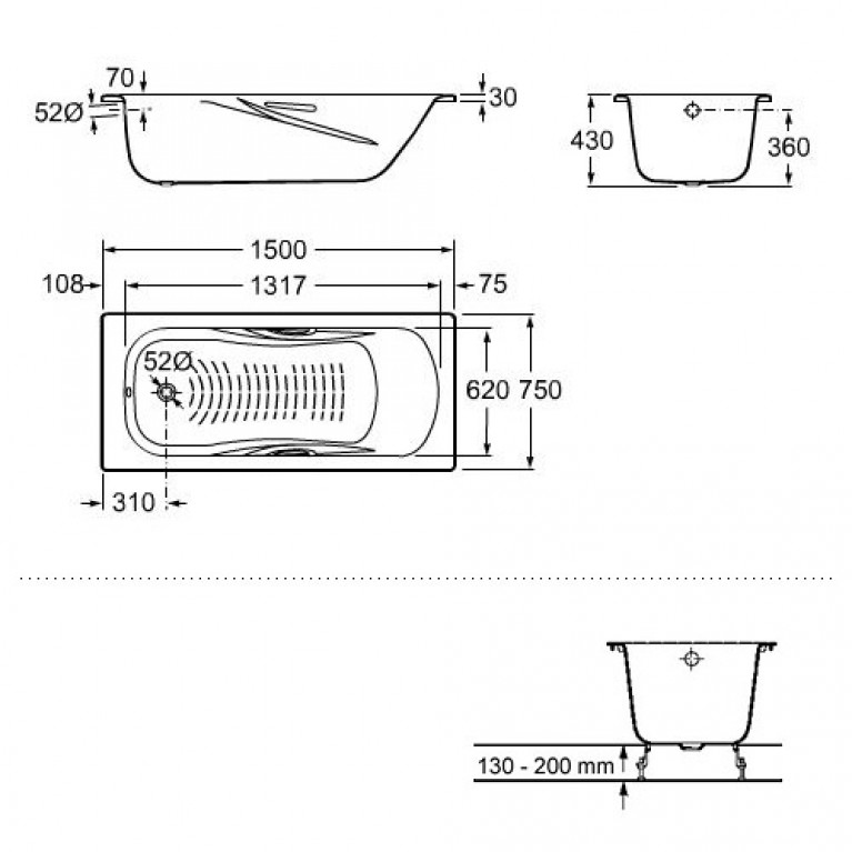 PRINCESS ванна 150*75см прямоугольная, с ручками, с ножками A220470001+A291021000, фото 2