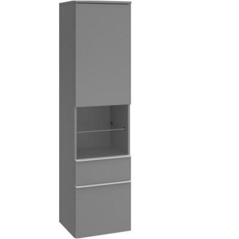 VENTICELLO высокий пенал 40*154,6*37,2cm(pyчka-вариант1-хрoм)цвeт-glоssу grey, фото 1