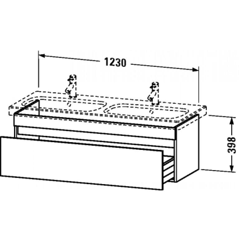 DURASTYLE тумба 123*44,8см, подвесная, с 1м ящиком, для раковины 233813, цвет базальт матовый DS639804343, фото 2