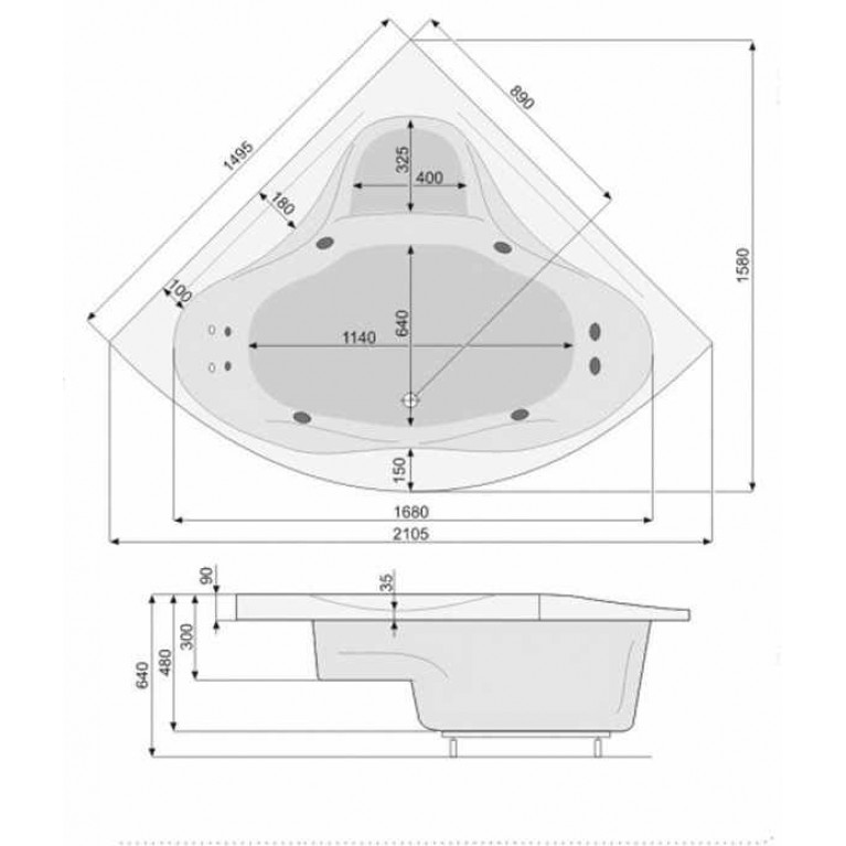 FRANCJA ванна 150*150см, с системой аэро и гидромассажа Titanium PHS3410STTC0000, фото 3