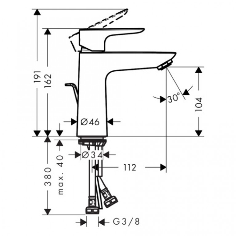 Talis E Смеситель для раковины 110, однорычажный 71710670, фото 2