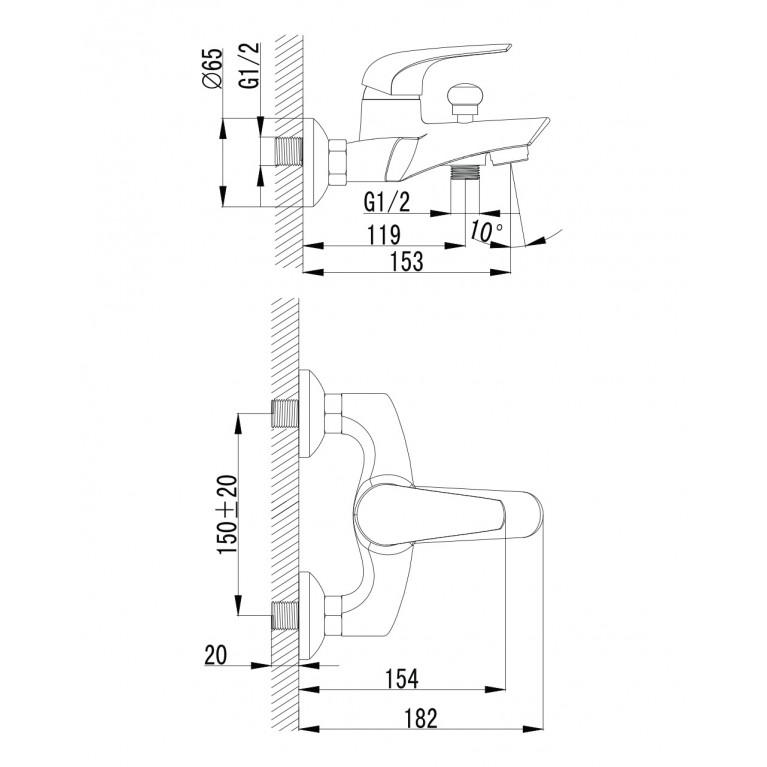 KRINICE смеситель для ванны, хром, 35мм 10110