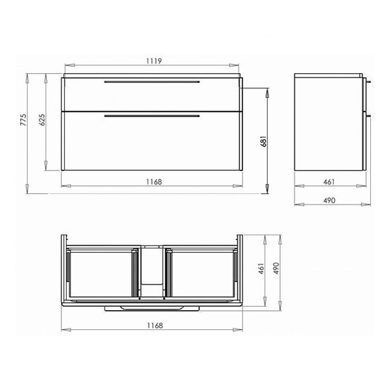 TRAFFIC шкафчик под умывальник 116,8*62,5*46,1 см,белый глянец(пол.) 89439000, фото 2