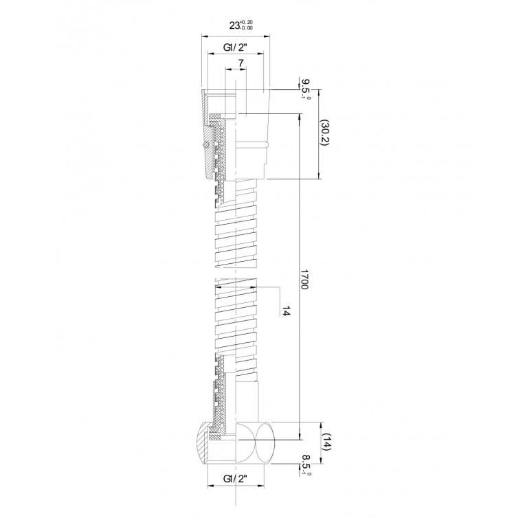 Шланг для душа  эластичный, растягивающийся с двойной оплеткой 1,5-1,8 м 1215, фото 2