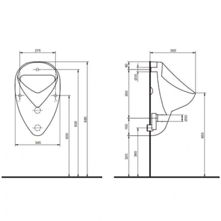 FELIX комплект писсуарный: писсуар 26000, сифон А99021, клапан сливной автоматический с элементом питан (пол.) 2607RZ, фото 2