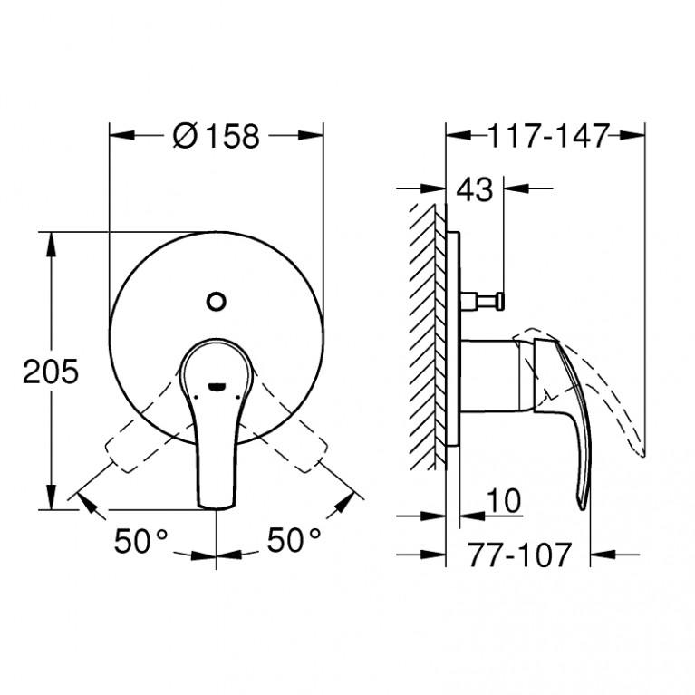Eurosmart смеситель для ванны СМ однорычажный с переключателем на 2 положения 24043002, фото 2