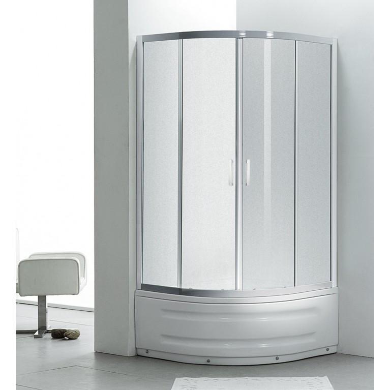 """TISZA MELY душевая кабина 90*90*200 см, на глубоком поддоне, профиль белый, стекло """"Zuzmara"""" 599-187, фото 4"""