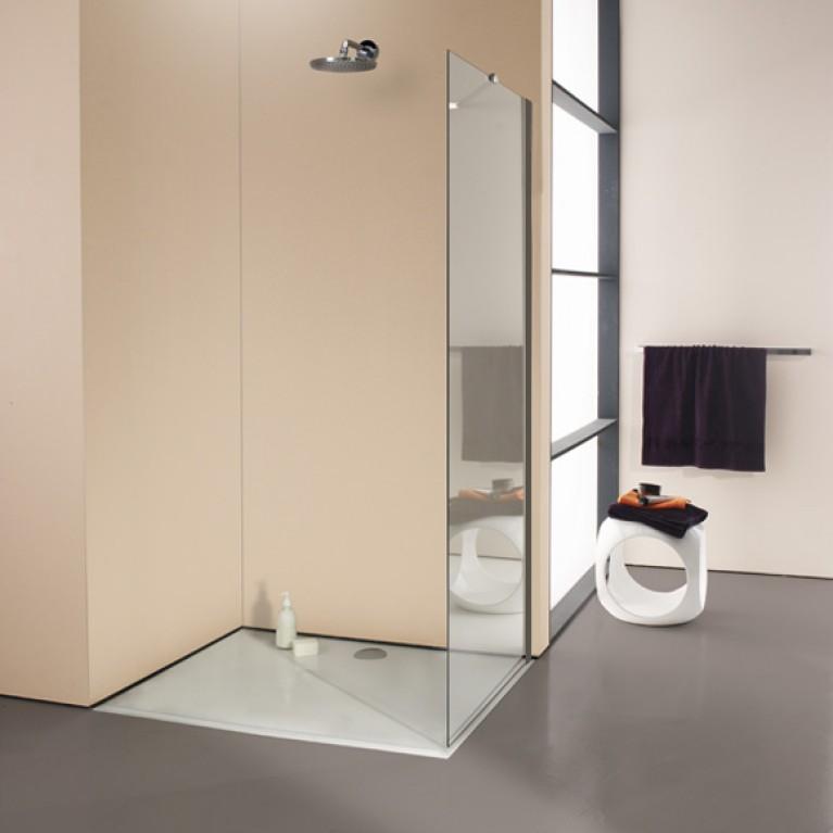 ENJOY ELEGANCE   стенка боковая 120*200см  (профиль матов серебро, стекло прозр ), фото 1