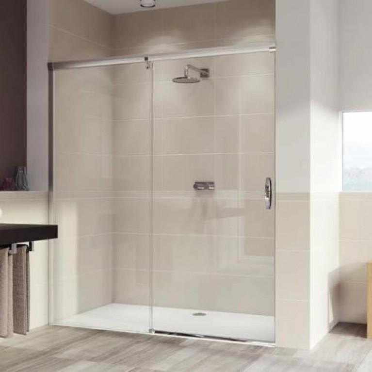 AURA ELEGANCE стенка боковая для односекционной раздвижной двери с неподвижным сегментом, глянцевый хром, стекло прозрач, фото 1