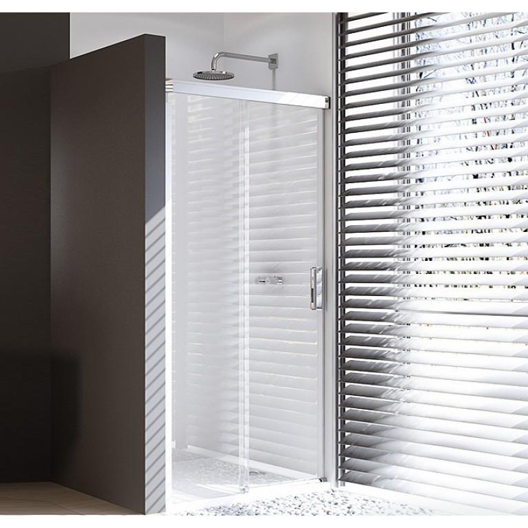 DESIGN PURE дверь односекционная раздвижная 120*200см (проф мат серебр,стекло прозр. Anti-Plaque с функц.SoftOpen/Close), фото 1