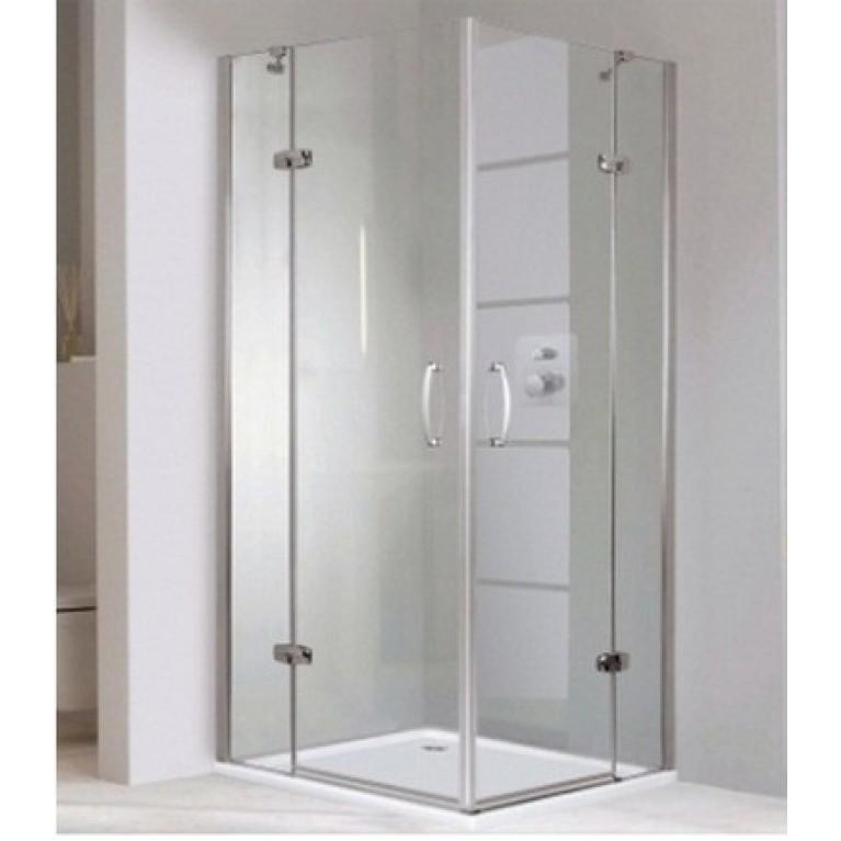 AURA ELEGANCE дверь распашная 90*200 см (монтаж на уровне пола, профиль гл. хром, стекло прозр Anti-Plaque), фото 1