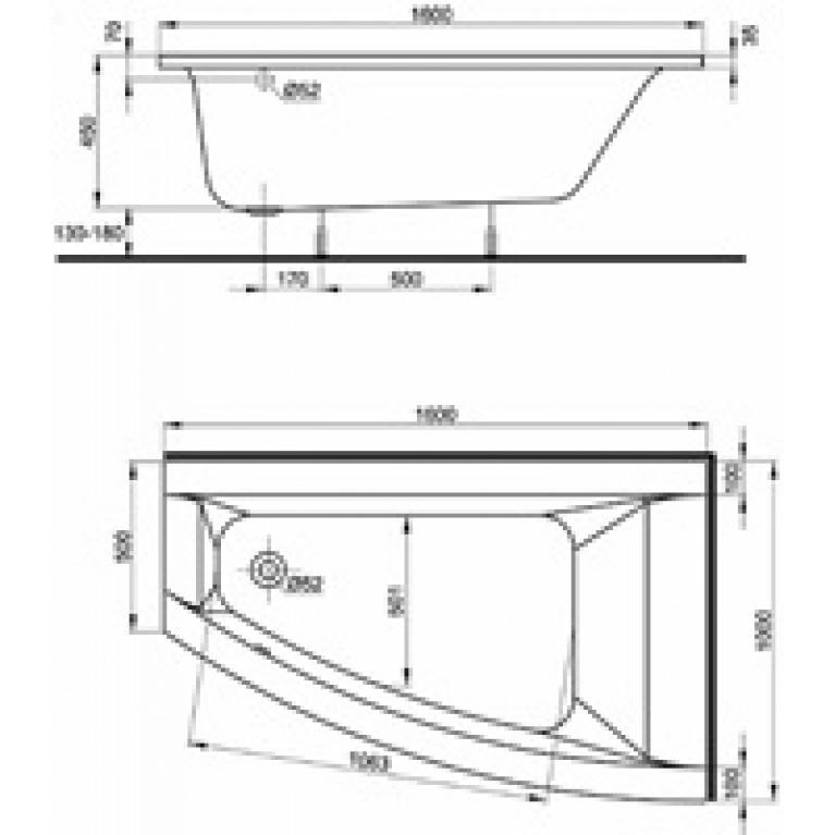 CLARISSA ванна 160*100 см, асимметричная, правая ванна+ноги XWA0860000, фото 2