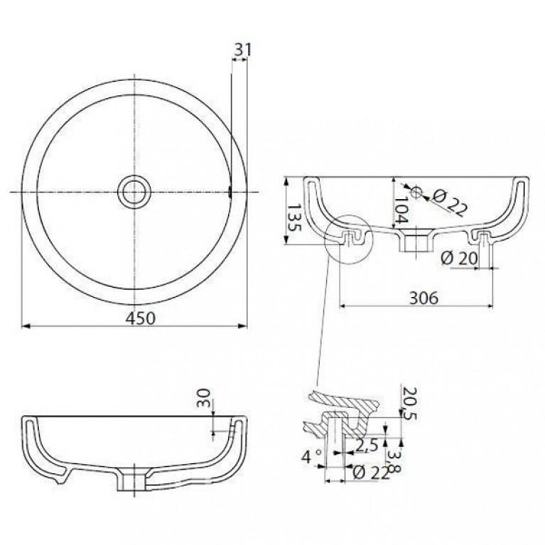 EGO by Antonio Citterio умывальник круглый 45 см, встраиваемый на столешницу, Reflex K12145900, фото 2