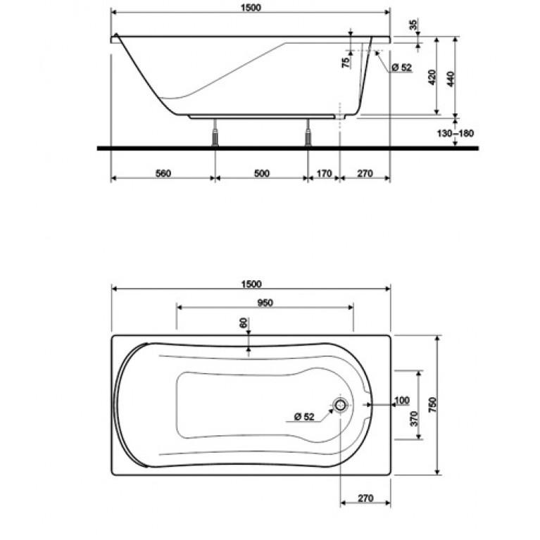 COMFORT ванна прямоугольная 150*75 см в комплекте с сифоном Geberit 150.520.21.1, с ножками SN7 XWP305000G, фото 2