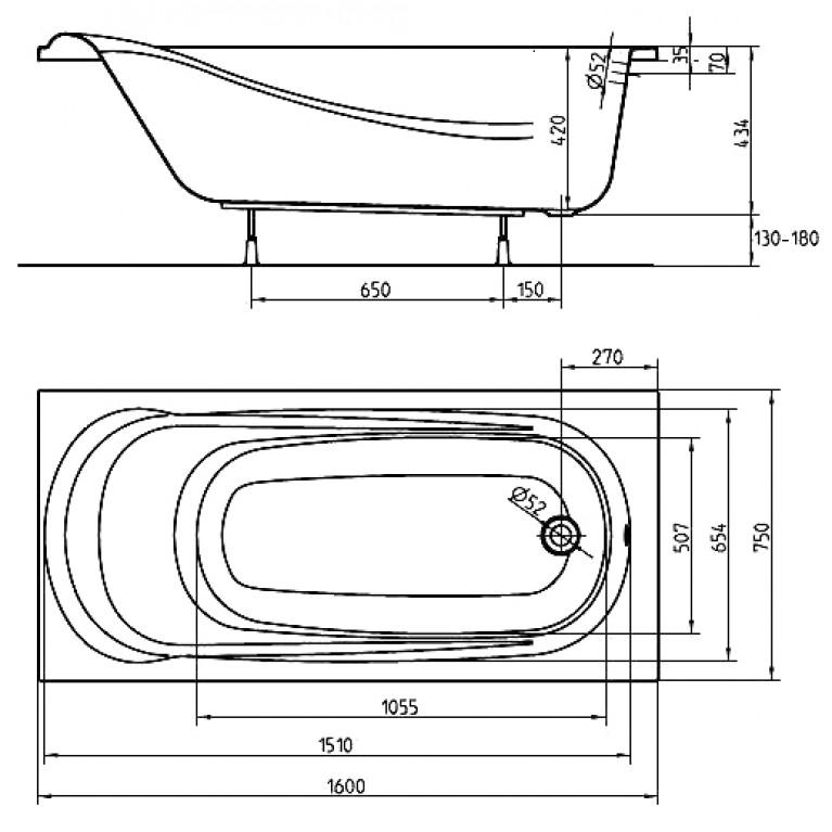 SAGA ванна прямоугольная 160*75 см с ножками SN0 и элементами крепления XWP3860000, фото 2