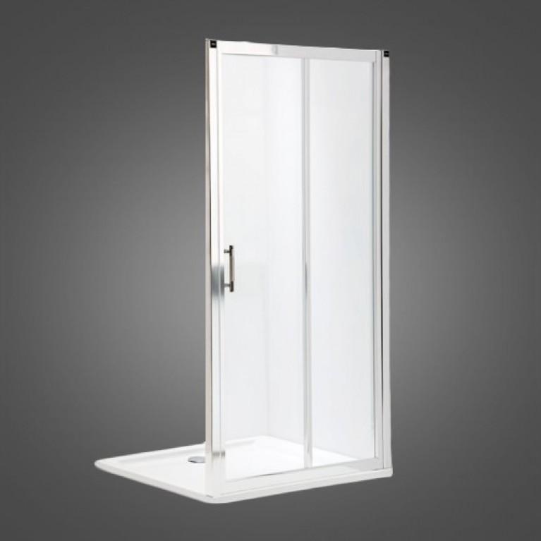 GEO 6 двери 160см, раздвижные 2-элементные, закаленное стекло, серебряный блеск, часть 1/2, фото 1