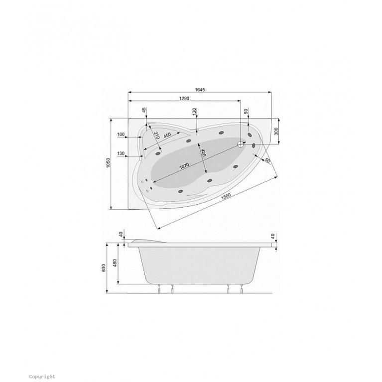 EUROPA ванна 165x105 левая + ноги PWA4810ZN000000, фото 2