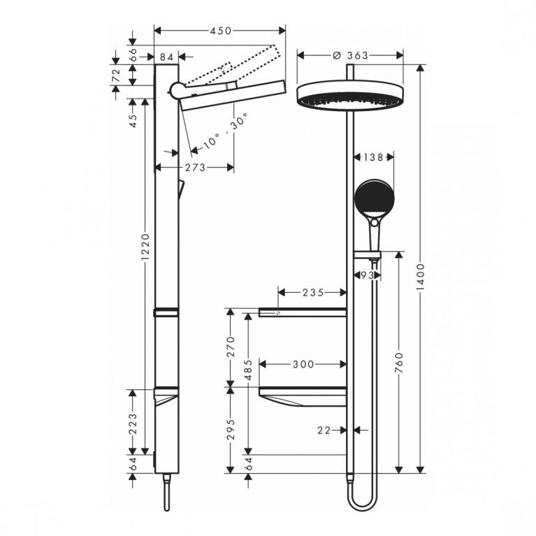 Rainfinity Showerpipe Душевая система 360 1jet скрытого монтажа, хром 26842000, фото 2