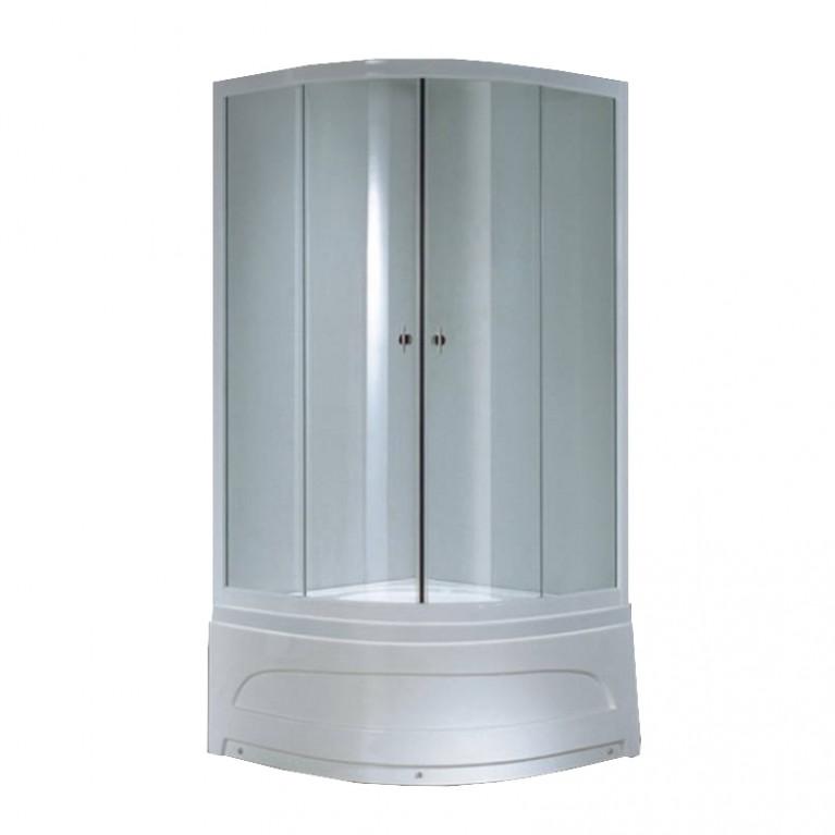 """Душевая кабина с глубоким поддоном 900*900*1940 мм, стекло (4мм) """"FABRIC"""" (в комп. с глубоким поддоном) профиль Белый"""