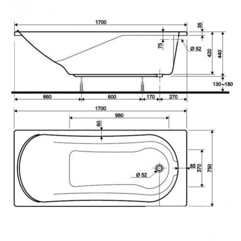 COMFORT ванна 170*75см без панели ( гидром. система люкс ) HL3070000, фото 2