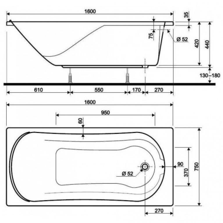 COMFORT ванна прямоугольная 160*75 см, в комплекте с сифоном Geberit 150.520.21.1, с ножками SN7 XWP306000G, фото 2