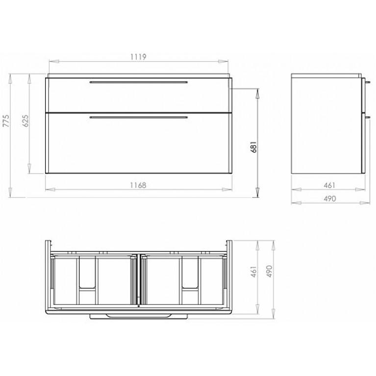 TRAFFIC шкафчик под умывальник 116,8*62,5*46,1 см,платиновый глянец(пол.) 89442000, фото 3