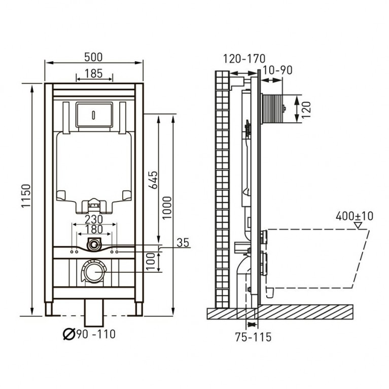 Комплект: MARO унитаз подвесной, сиденье mягkoe(492*354*400мм)+VOLLE MASTER 13-52-321+141515