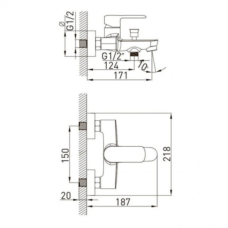 FIESTA набор для ванны (15151100+15152100+штанга) 1515112161, фото 3