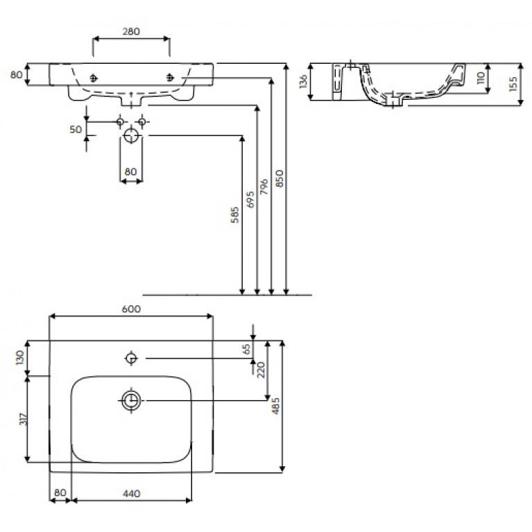 MODO умывальник с отверстием,с переливом 60*48,5 см (пол.) L31960000, фото 2