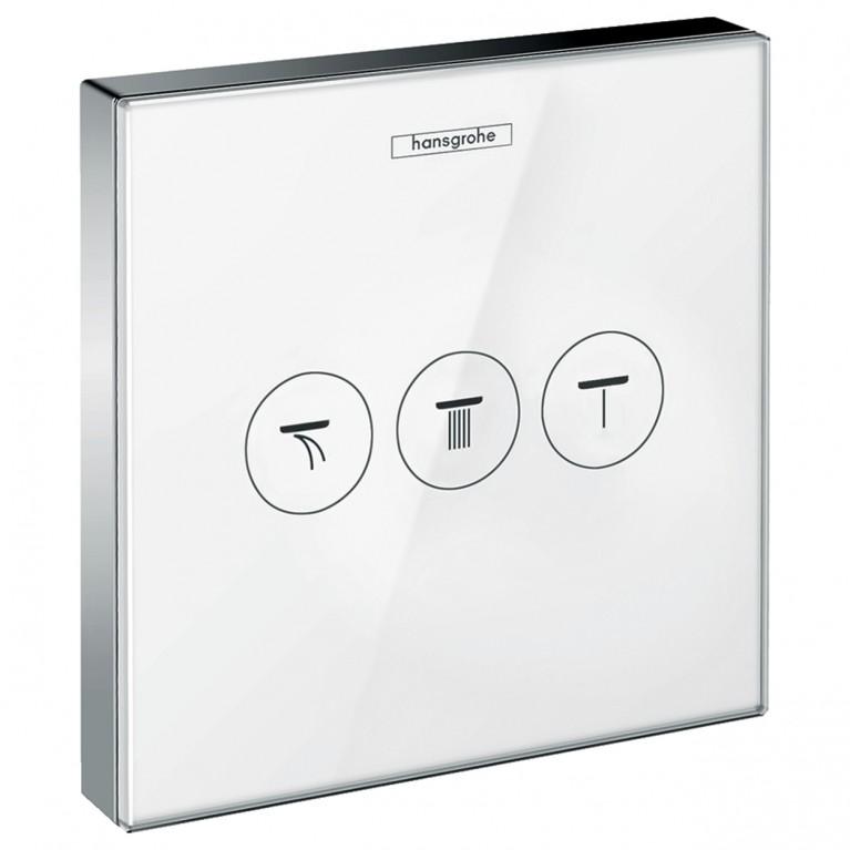 ShowerSelect Модуль с тремя запорными клапанами, стеклянный, белый/хром, фото 1