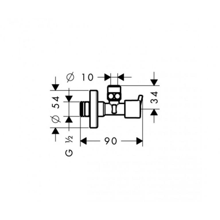 Hansgrohe Вентиль угловой S, ½' , хром 13901000