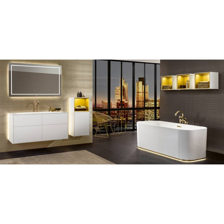 FINION ванна 170*70см, отдельностоящая, бесшовная, оснащение - шампань, ф-ии Emotion и ViSound, кольцо Design, цвет RAL 9011 (по запросу!), фото 2