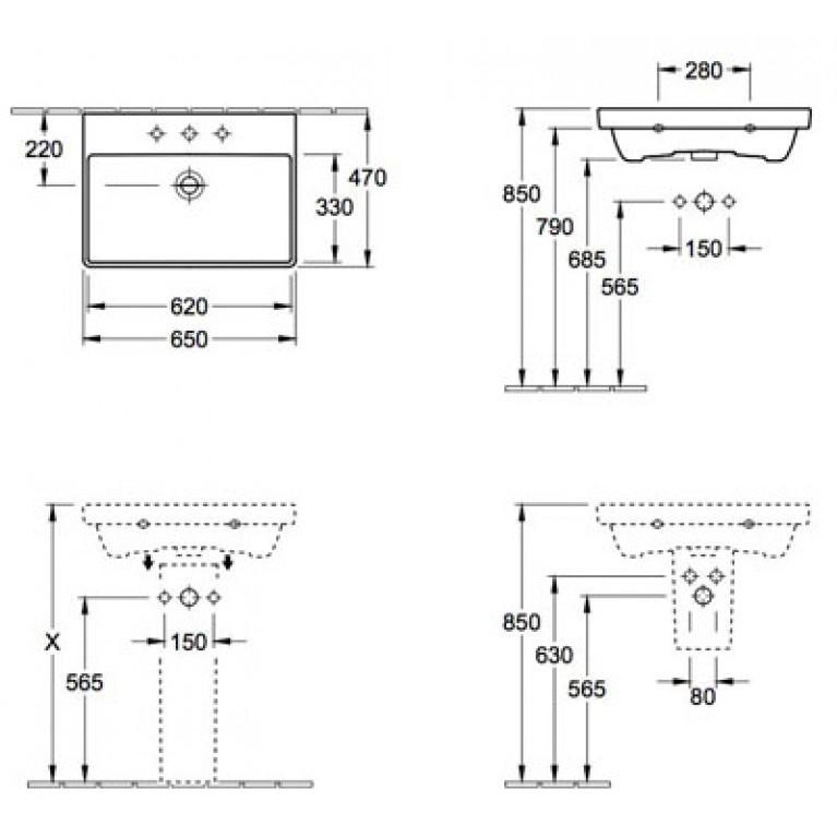 AVENTO умывальник 65*47см, для 3-позиц. смесителя, с центр. отв. для смесителя,с переливом, белый альпин 41586501, фото 2