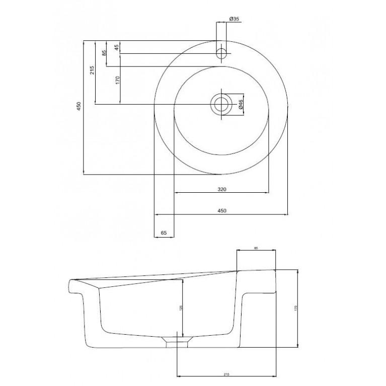 COCKTAIL умывальник круглый 45 см, встраиваемый в столешницу L31845000, фото 3