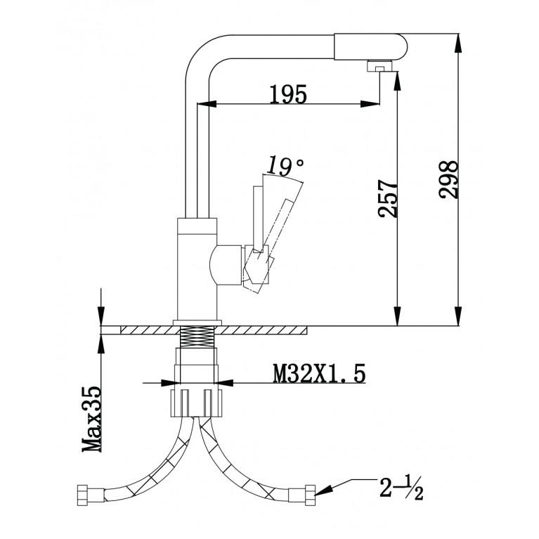 LOTTA смеситель для кухни, высокий нос, сатин, 35 мм 55400, фото 4
