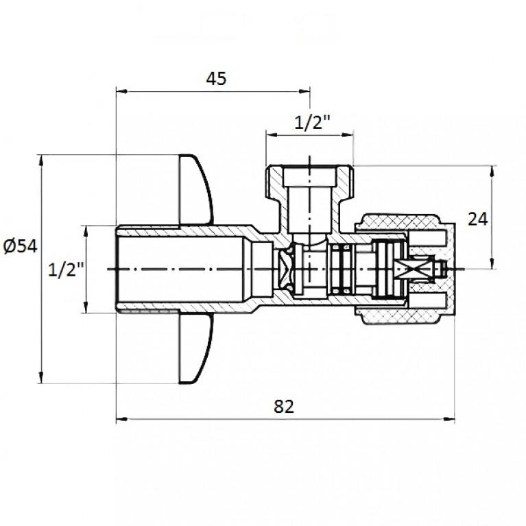 Угловой вентиль G1/2-G1/2 AV01, фото 2