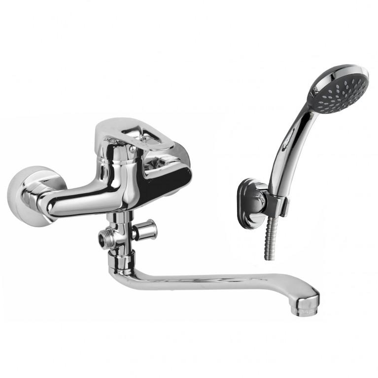 NARCIZ смеситель для ванны однорычажный, S-излив 350 мм, хром  40мм
