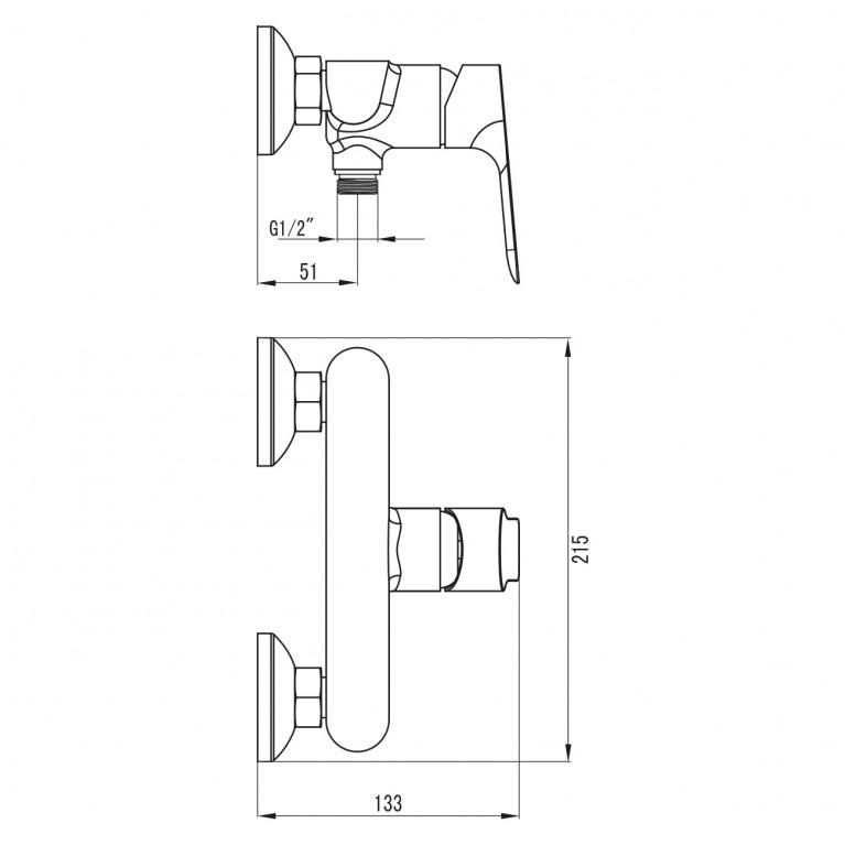 KUCERA смеситель для душа, хром 35мм 15105, фото 2
