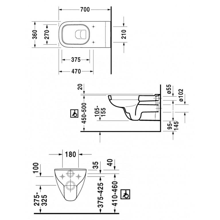 D-CODE унитаз 36*70см, подвесной, с вертикальным смывом, для инвалидов на колясках 22280900002, фото 2